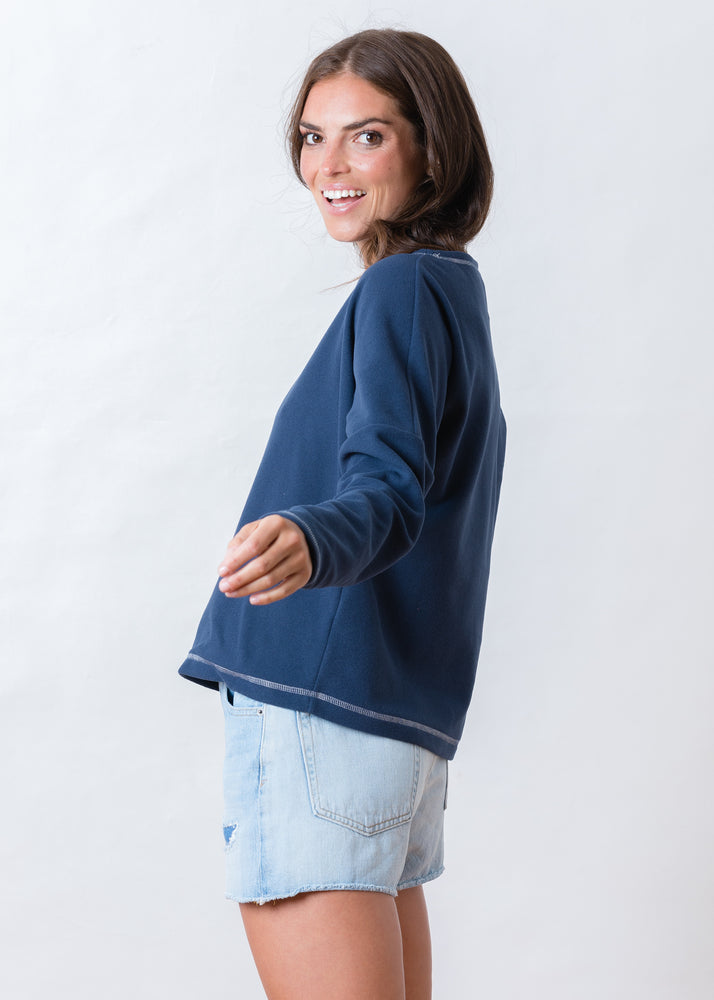 Somerset Sweatshirt in Terry Fleece (Navy)