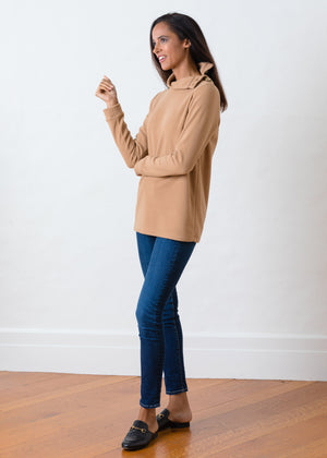 Bailiwick Button Turtleneck in Vello Fleece (Camel)