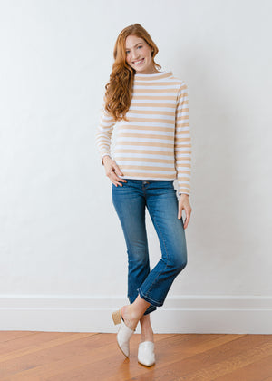 Brighton Boatneck Top in Striped Fleece (Natural Blush / White)