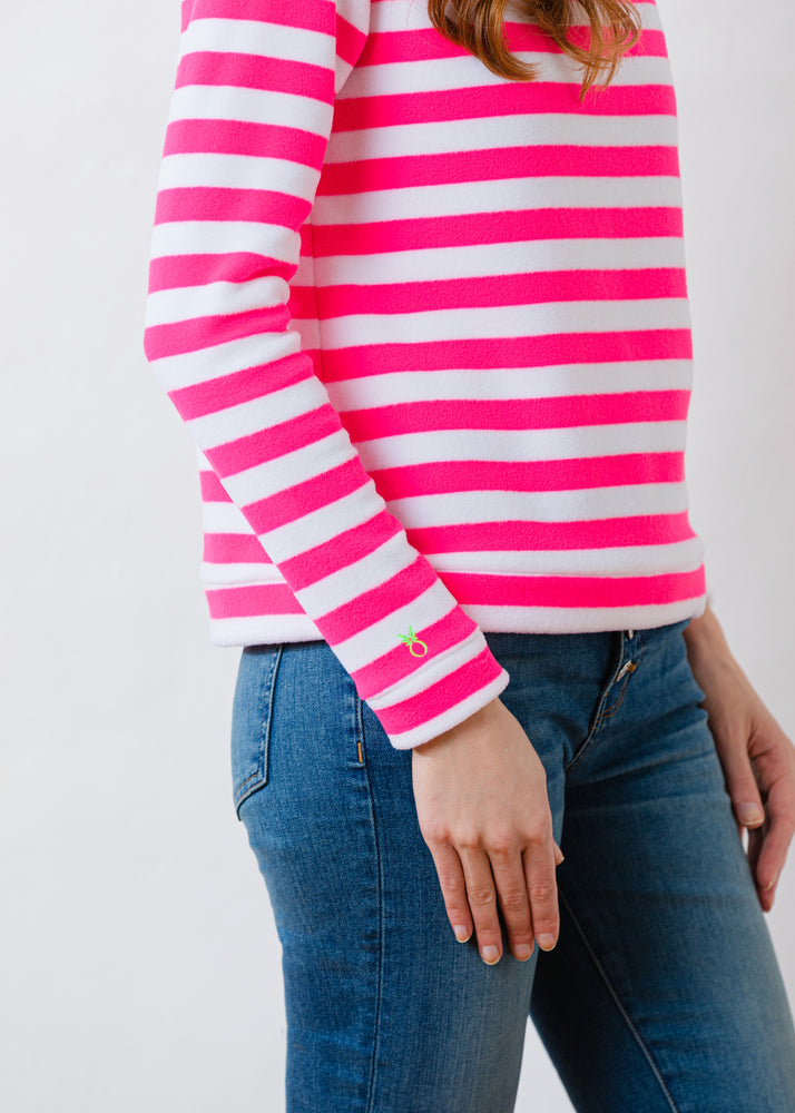 Brighton Boatneck Top in Striped Fleece (Neon Pink / White)