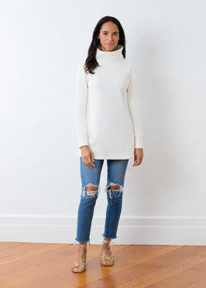 Cobble Hill Turtleneck in Terry Fleece (Off-White)