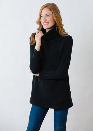 Load image into Gallery viewer, Double Roll Neck Cobble Hill in Vello Fleece (Black)