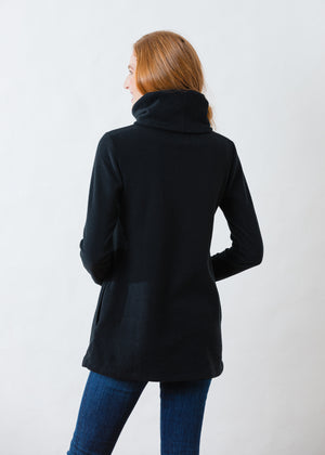 Double Roll Neck Cobble Hill in Vello Fleece (Black)