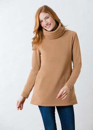 Double Roll Neck Cobble Hill in Vello Fleece (Camel)