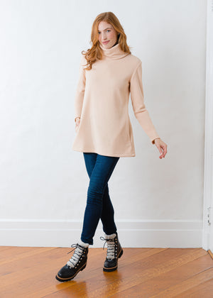 Load image into Gallery viewer, Double Roll Neck Cobble Hill in Vello Fleece (Natural Blush)