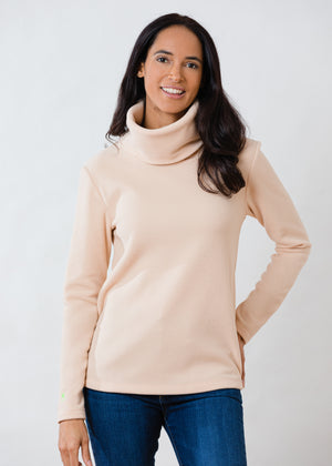 Double Roll Neck Greenpoint in Vello Fleece (Natural Blush)