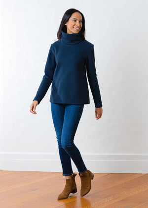Double Roll Neck Greenpoint in Vello Fleece (Navy)