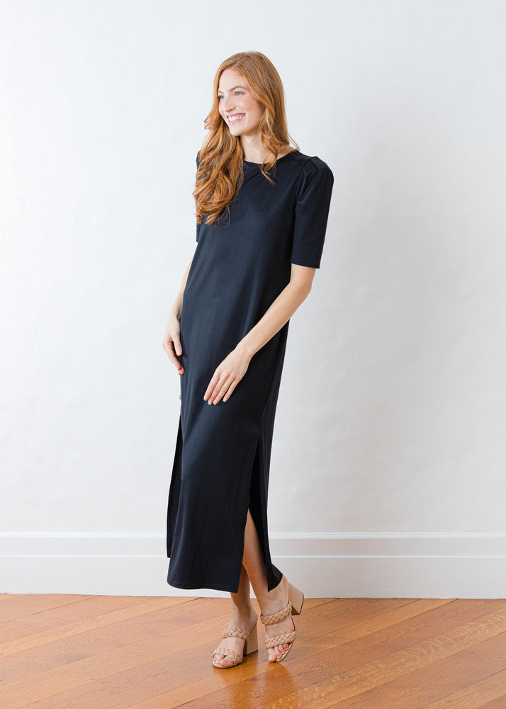 Evelyn Puff Sleeve Dress in Double Jersey (Black)