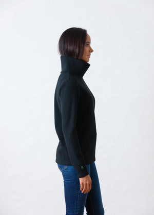 Load image into Gallery viewer, Greenpoint Turtleneck in Vello Fleece (Black)