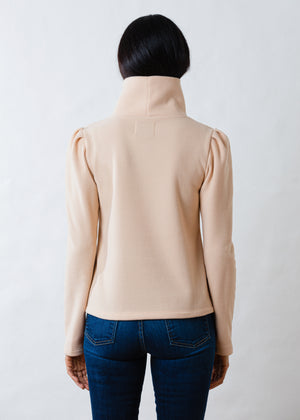 Palmer Puff Sleeve Turtleneck in Vello Fleece (Natural Blush)