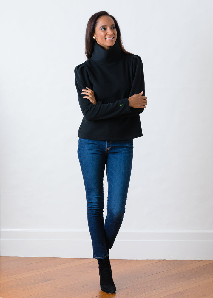 Load image into Gallery viewer, Palmer Puff Sleeve Turtleneck in Vello Fleece (Black)