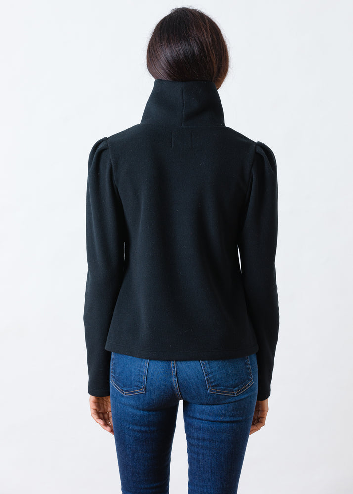 Palmer Puff Sleeve Turtleneck in Vello Fleece (Black)