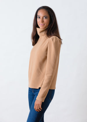 Palmer Puff Sleeve Turtleneck in Vello Fleece (Camel)