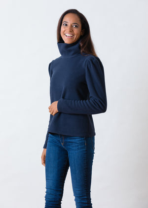 Palmer Puff Sleeve Turtleneck in Vello Fleece (Navy)