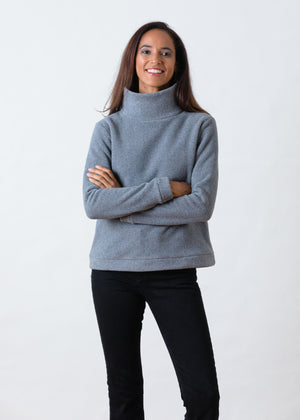 Park Slope Turtleneck in Double Layer Vello Fleece (Charcoal Grey)