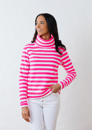 Load image into Gallery viewer, Park Slope Turtleneck in Striped Fleece (Neon Pink / White)