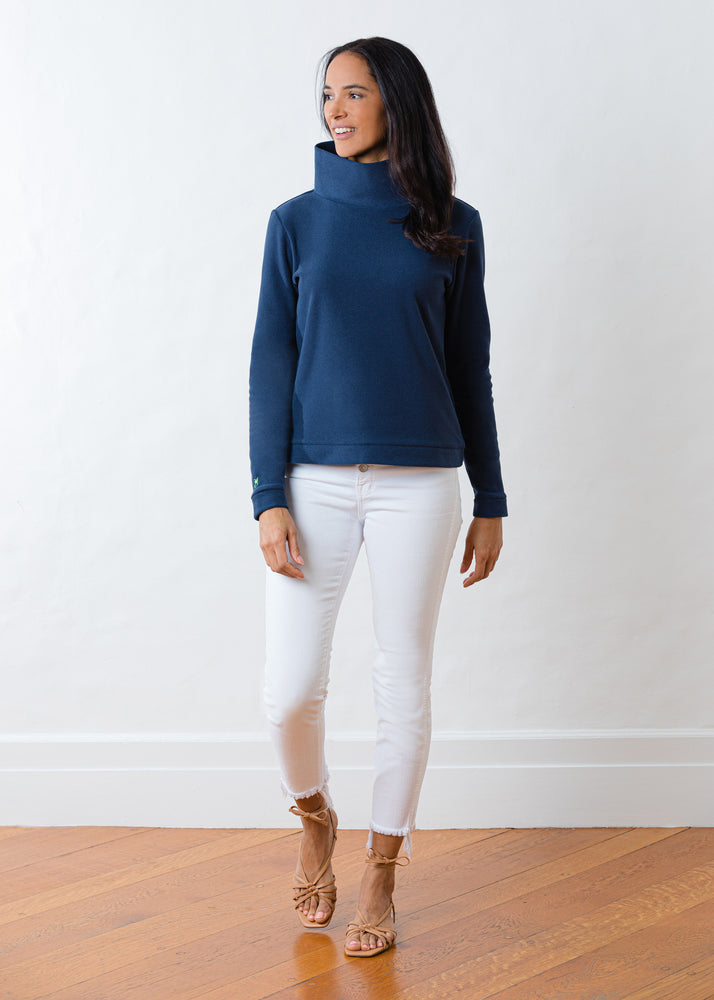 Load image into Gallery viewer, Park Slope Turtleneck in Terry Fleece (Navy)