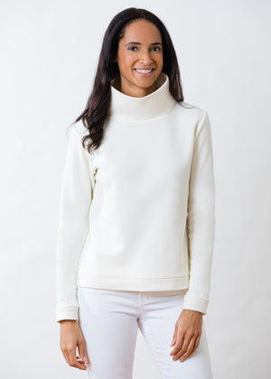 Park Slope Turtleneck in Terry Fleece (Off-White)