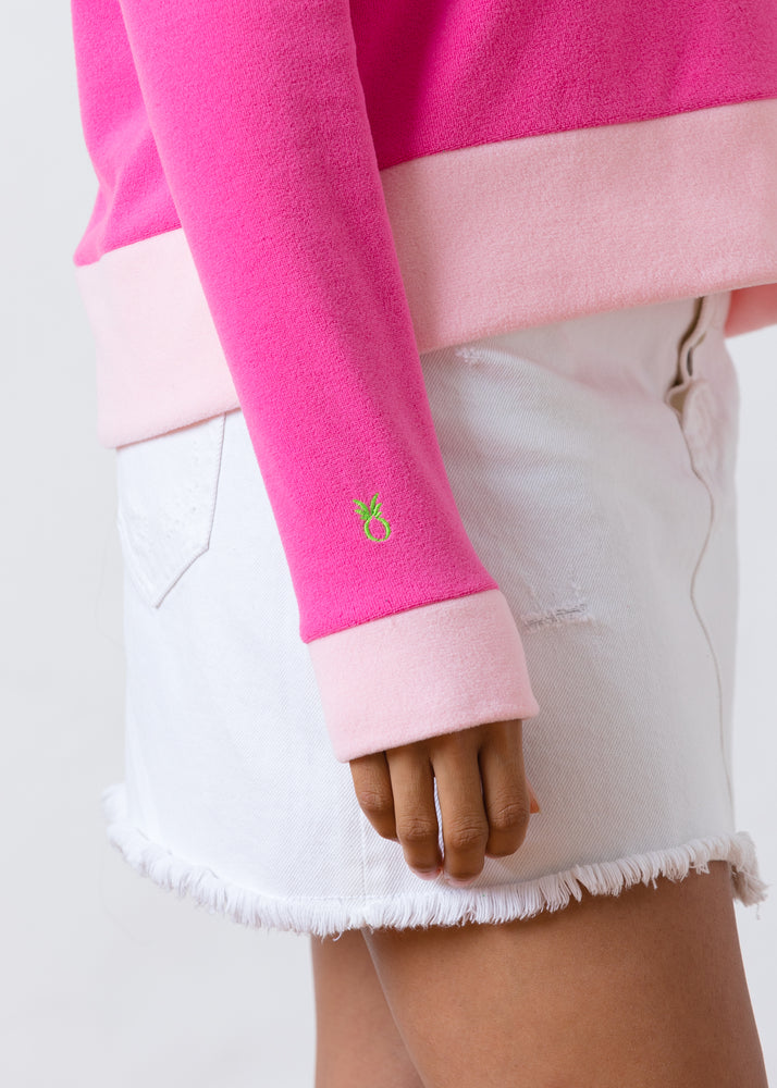 Load image into Gallery viewer, Putnam Pullover in Terry Fleece (Bubble Gum Pink / Pink)