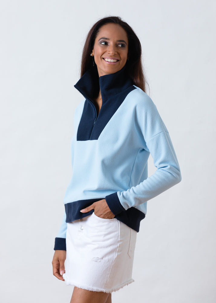 Load image into Gallery viewer, Putnam Pullover in Terry Fleece (Ice Blue / Navy)