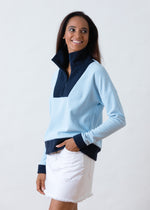 Putnam Pullover in Terry Fleece (Ice Blue / Navy)
