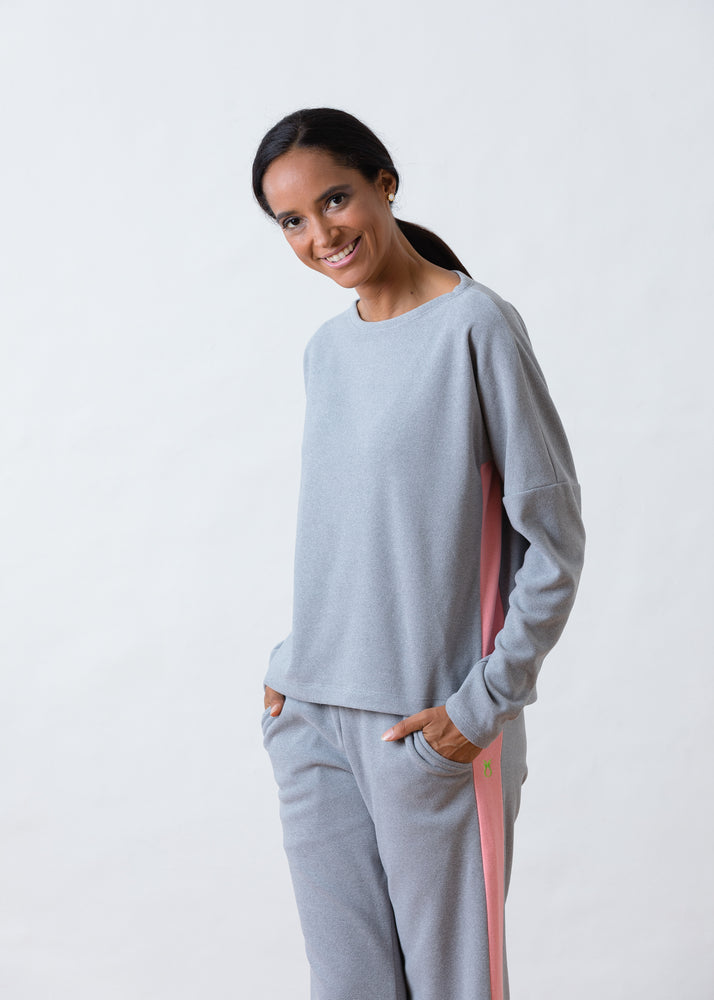 Load image into Gallery viewer, TH - Somerset Colorblock Sweatshirt in Terry Fleece (Heather Grey / Island Coral)