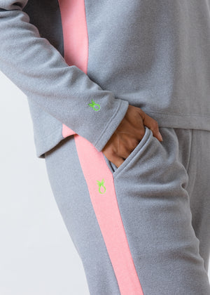 Somerset Sweats in Terry Fleece (Heather Grey / Island Coral)