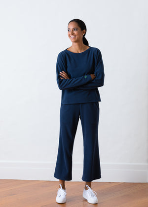 Load image into Gallery viewer, Somerset Sweats in Terry Fleece (Navy / White)