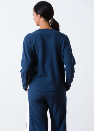 Load image into Gallery viewer, Somerset Colorblock Sweatshirt in Terry Fleece (Navy / White)