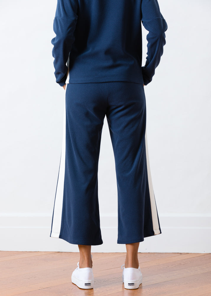 Somerset Sweats in Terry Fleece (Navy / White)