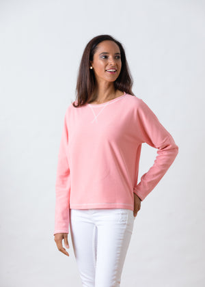 Somerset Sweatshirt in Terry Fleece (Island Coral)