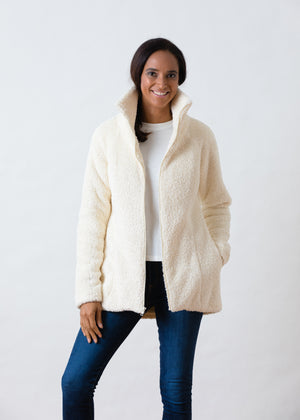 Load image into Gallery viewer, Union Street Jacket in Brushed Fleece (Off-White)