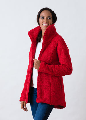 Union Street Jacket in Brushed Fleece (Red)