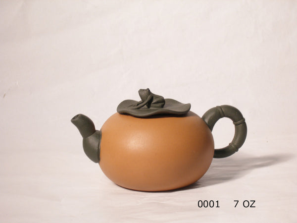 Yixing Clay pot, red body, with dark brown handle and spout, dark brown frog on lily pad as lid