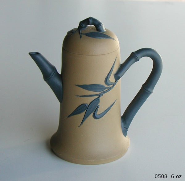Tryeh Yixing Clay Pot- Beige body, with blue bamboo stalk shaped spout and handle, painted with bamboo leaves