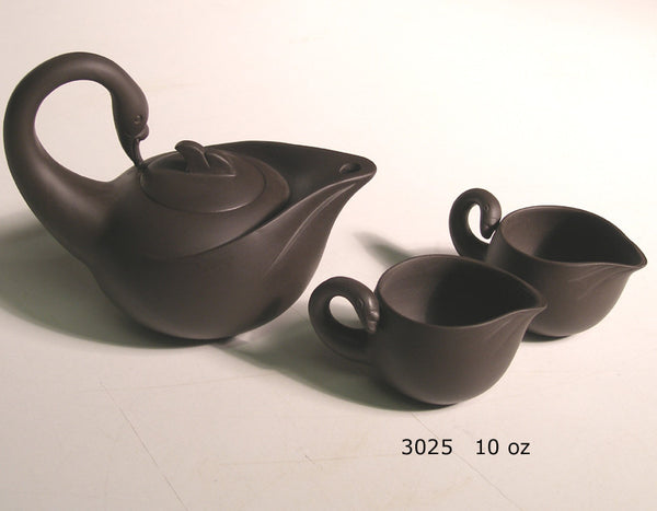 Tryeh Yixing Clay Pot - black swan shaped tea pot, with 2 matching swan cups