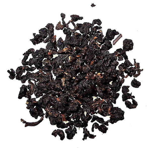 Four Seasons Black Pearl Taiwanese Oolong glossy, black, tightly rolled
