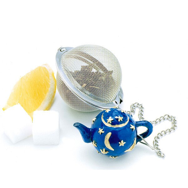 Mesh Tea Ball with blue star and moon teapot