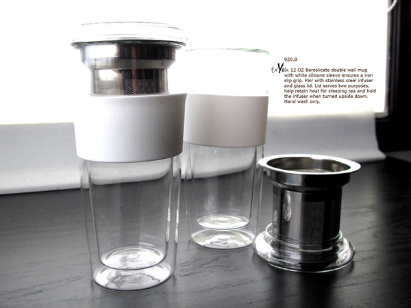 Glass Cup with Infuser and Silicon Sleeve - 12 oz