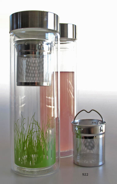 Clear glass tumbler with stainless steel infuser basket, green blades of grass at the bottom
