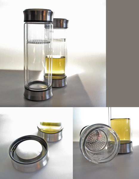 Glass Tumblr with silver lid and infuser