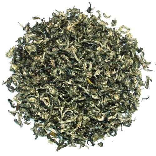 Bi Lo Chun Chinese Green Tea Spiral rolled green tea leaves with white tips