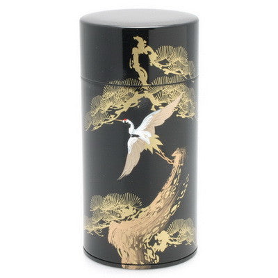 Black lacquer tea canister with gold crane