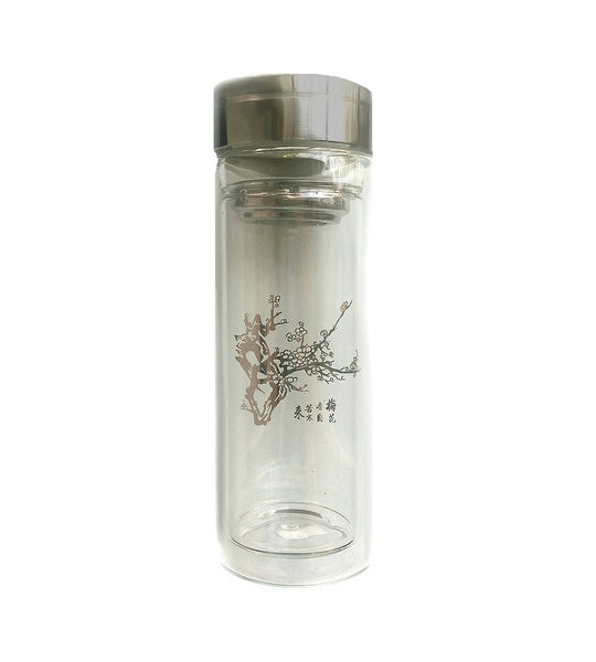 Glass tea tumbler etched with cherry blossom branch