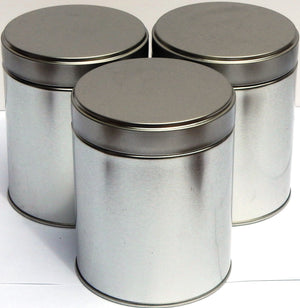 Silver coloured tea canisters