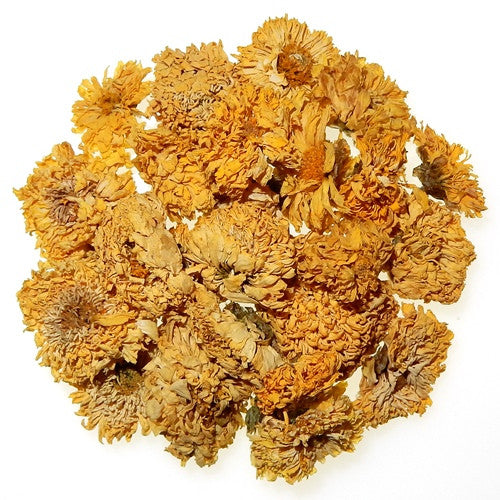 Organic dried Chrysanthemum flowers arranged in a circle