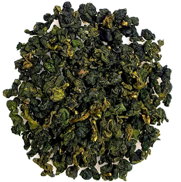 Dayuling Taiwanese Oolong, green and tippy, tightly rolled