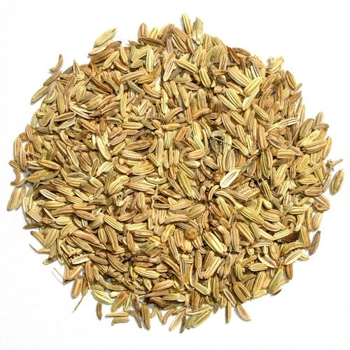 Organic Fennel Seeds arranged in a circle
