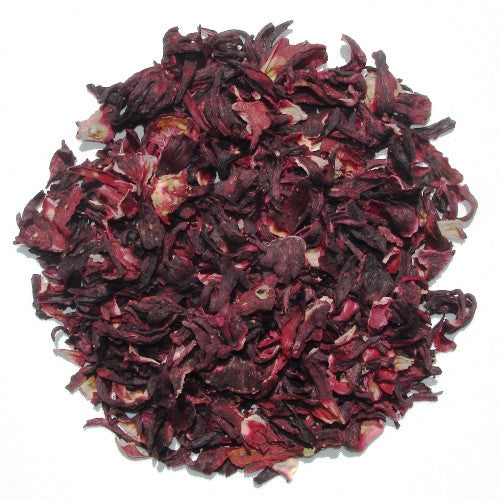 Organic dried Hibiscus flowers arranged in a circle