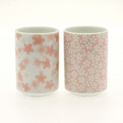 Tall and narrow Japanese Sakura tasting cups